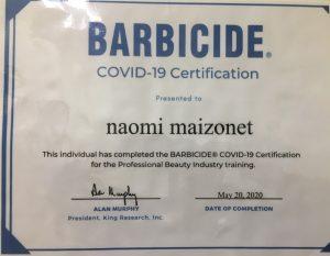 Barbicide Covid-19 Certification Naomi Maizonet